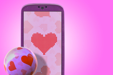 Pink smartphone and hear shapes. Idea for Valentines Day messages, love, lovers, love apps, Internet, blogs and others. photo