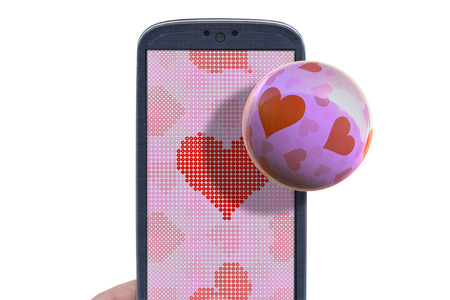 Blue smartphone and hear shapes. Idea for Valentines Day messages, love, lovers, love apps, Internet, blogs and others. photo