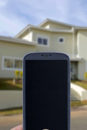 monitoring system: Smatrphone and house. Idea for smartphone home security system monitoring system real state applications contractor architecture home improvements  and others.