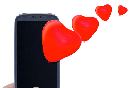 Blue smartphone and red heart balloons. Idea for Valentines Day calls love lovers love apps Internet blogs and others. photo