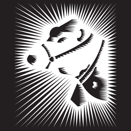 Stylized Vector Bull on blak background Ilustração