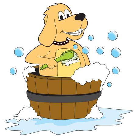 k9: Dog taking a bath - Illustration - Vector