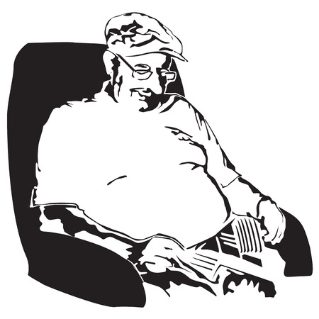 taking nap: Grandfather taking a nap after lunch - vector illustration Illustration