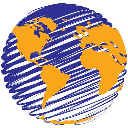 globe terrestre dessin: Globe - stylisé planète terre comme illustration vectorielle