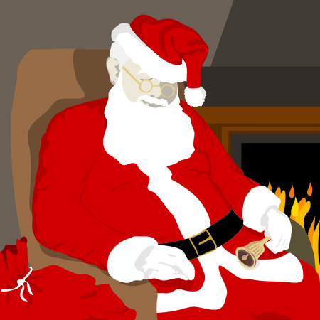 resting: Santa Claus resting near a fireplace after a busy day delivering gifts