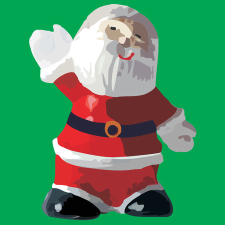 fullbody: Simplified Santa Claus showing how big is your gift Illustration