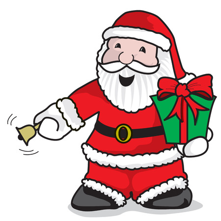 give a gift: Santa Claus ringing the bell to give a gift - A vector illustration on white background Illustration
