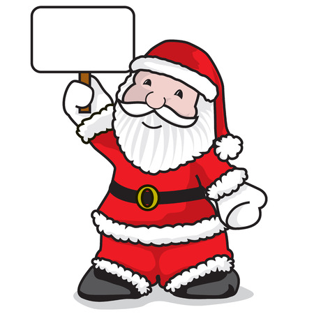 fullbody: Santa claus holding a message - A vector illustration on white background Illustration