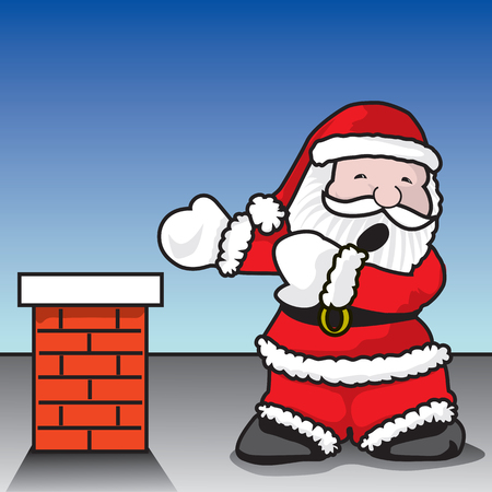 confined space: Santa Claustrophobia - Santa Claus terrified on getting into fireplace - A vector illustration