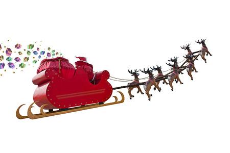 De Kerstman die giften leveren over de hele wereld door het rijden op een slee onder leiding van de rendieren op een witte achtergrondkleur