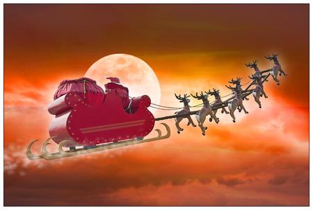 santa clos: Pap� Noel que monta un trineo conducido por renos en la noche de verano