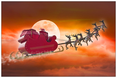 sky: Santa Claus riding a sleigh led by reindeers on summer evening