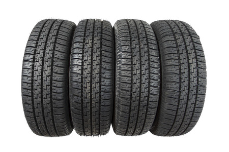 tire track: Set of new tires isolated on white background Stock Photo