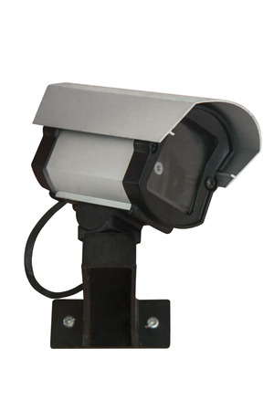 voyeur: Security cam on white background Stock Photo