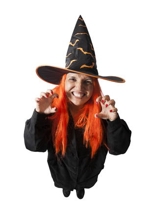 brazilian woman: Brazilian woman wearing a Haloween costume - Witch casting spell on - isolated on white background.
