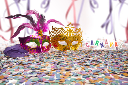 props: Carnival Party Props on blur background with Brazilian Carnival text