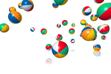 group of colourful ball: Beach balls bouncing on white background