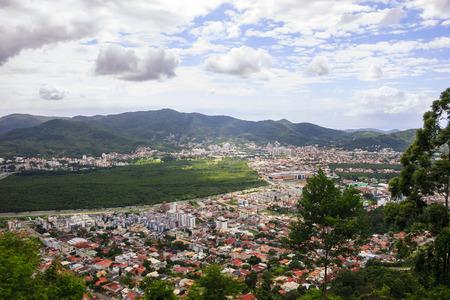 da: Aerial view of Trindade, Parque do Manguezal do Itacorubi, Santa Monica e Morro da Costa da Lagoa Stock Photo