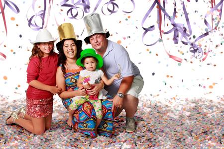 children celebration: A happy brazilian family at Carnival