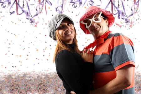Brazilian couple enjoying a Carnival party Stock Photo
