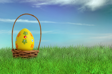 green yellow: Painted Easter egg in a basket on grass with sky background Stock Photo