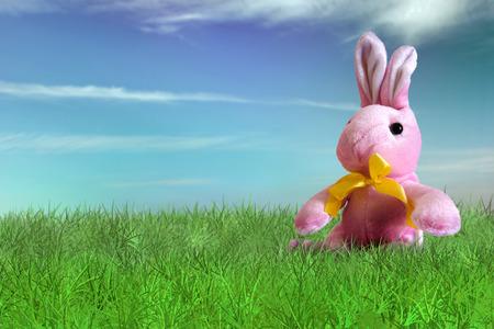 horizontal  green: Pink bunny plush on grass on backyard - Happy Easter Stock Photo