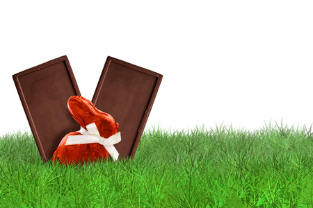 chocolate background: Chocolate bunny and Chocolate bars on grass on white background Stock Photo