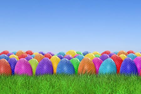 farm background: Easter egg harvest on sky background