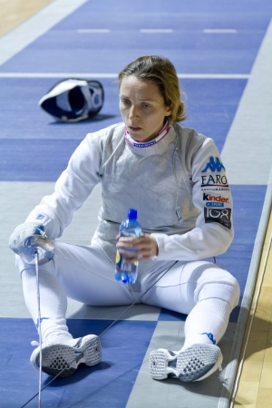 valentina: Valentina Vezzali, bronze medal sports competition fencing Editorial