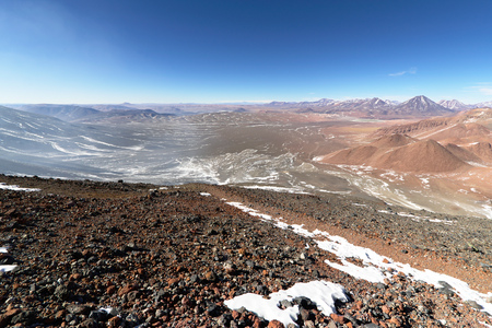 active volcano: View from Lascar mountain while scaling. This mountain is an active volcano located at Atacama desert in Chile.