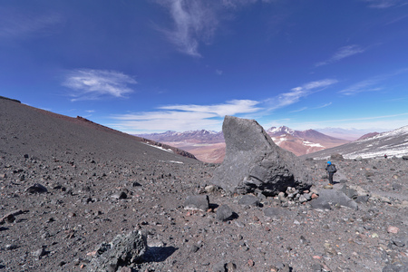 scaling: View from Lascar mountain while scaling. This mountain is an active volcano located at Atacama desert in Chile.