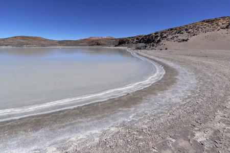 high plateau: Salt lagoon at the Atacama desert high plateau.