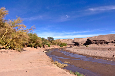 Small river crossing San Pedro de Atacama town.