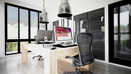 Small home office for two computers e.g. graphics position. Work, position, window, Design for home office with a computer for professional work around administrative but also professional graphics. Two positions in independently working.