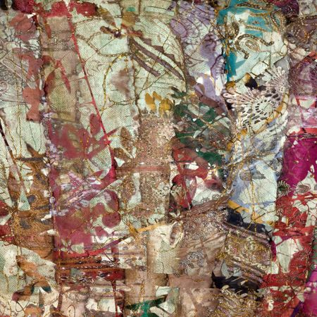 indian paint brush: colorful indian patchwork textured art abstract background Stock Photo