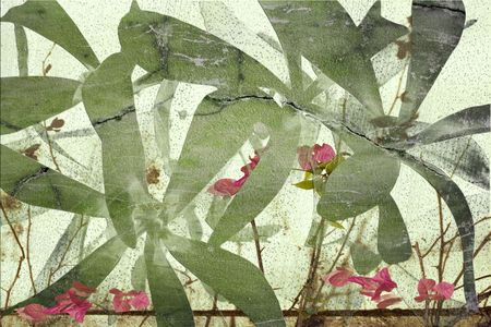 Highly textured grunge cracked flower art print photo
