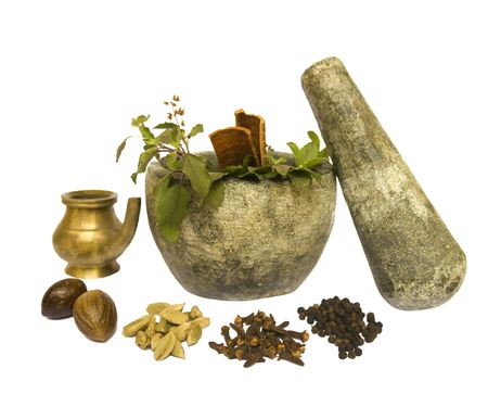 tulasi: Image of Ayurveda Natural Health tools isolated with clipping path