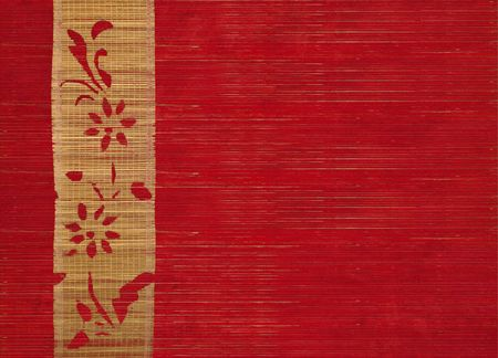 flower bamboo banner on ribbed wood background photo