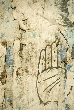 Image of grungy hand on grung textured background photo