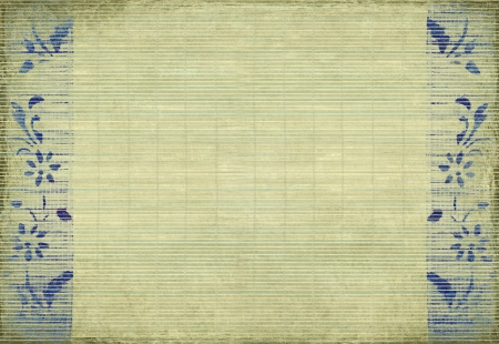 writing materials: Blue flower print on grunge cream slatted background