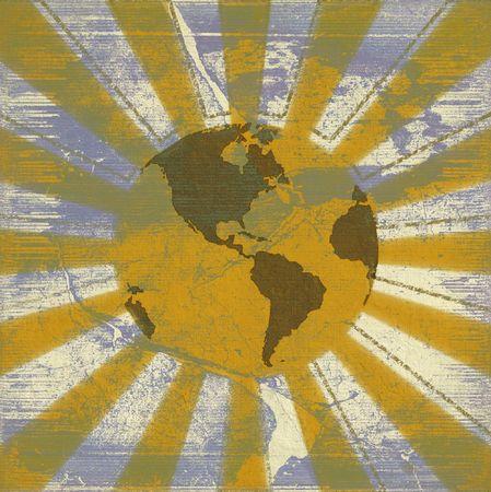 Global sunrise grunge textured background photo