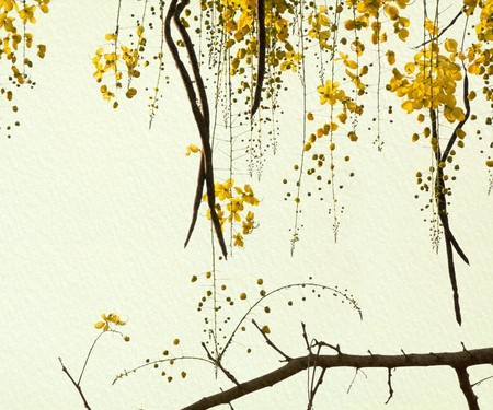 Golden Shower Tree on Handmade Paper Art background photo