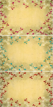 Butterfly flower frames on light grunge wall collection  photo