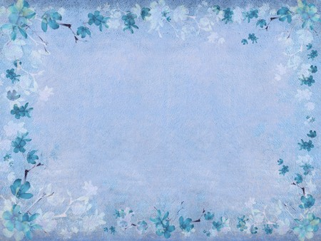 Winter blue blossom flower border on blue textured background with text space photo