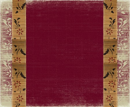 floral bamboo banner frame on red background photo