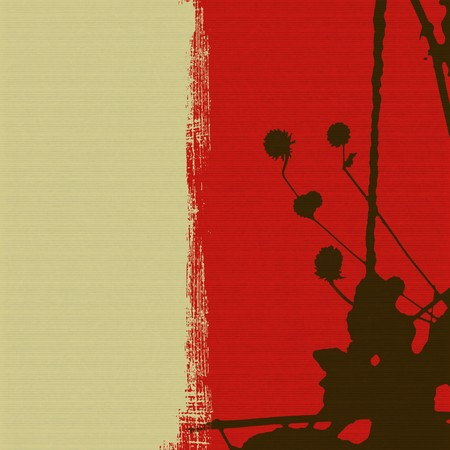 Seed head silhouette on red and cream ribbed background photo