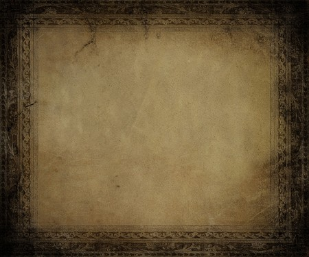Antique parchment with dark embossed frame textured background photo