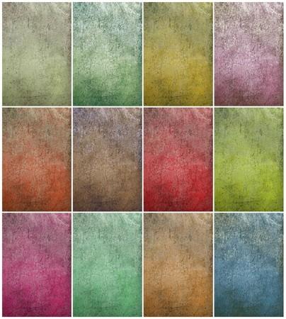 Colorful cloudy grunge wall set textured background  Standard-Bild