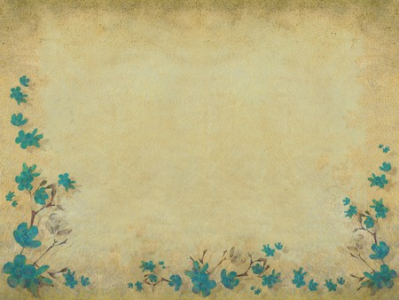 Blue blossom flower half border light background photo