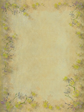 Yellow and grey faded blossom border background photo